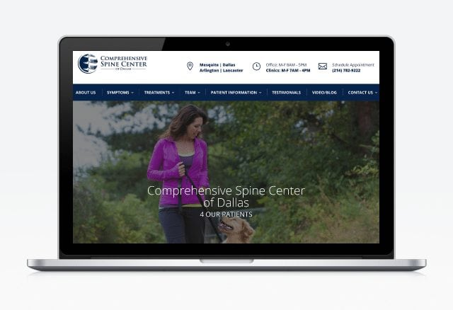 Comprehensive Spine Center of Dallas Website Designed By Moonshot Marketing